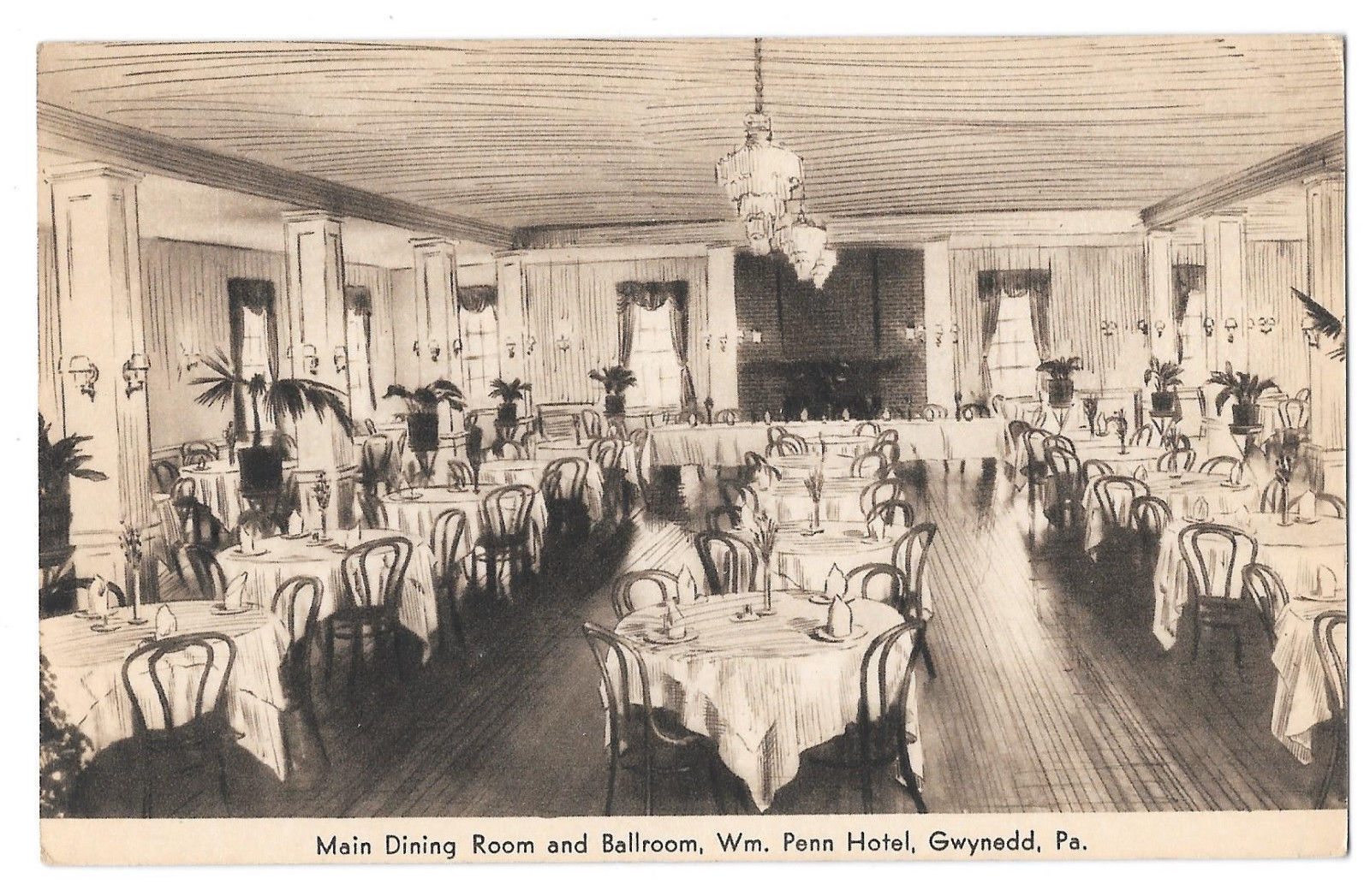 PA Gwynedd Wm. Penn Hotel Dining Room Ballroom Interior Vtg Advertising Postcard