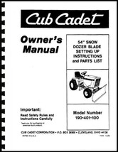 "Cub Cadet 54"" Dozer Blade Owners Manual Model No. 190-401-100 - $10.88"