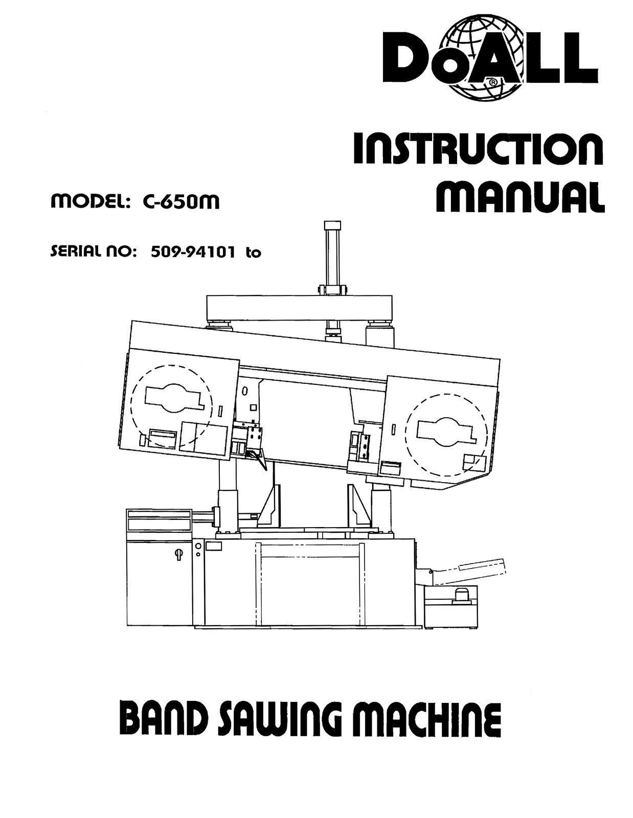 DoAll Band Saw Operators Manual Model No. C-650M