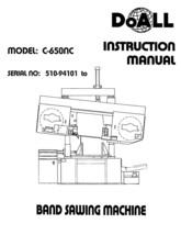 DoAll Band Saw Operators Manual Model No. C-650NC - $21.78