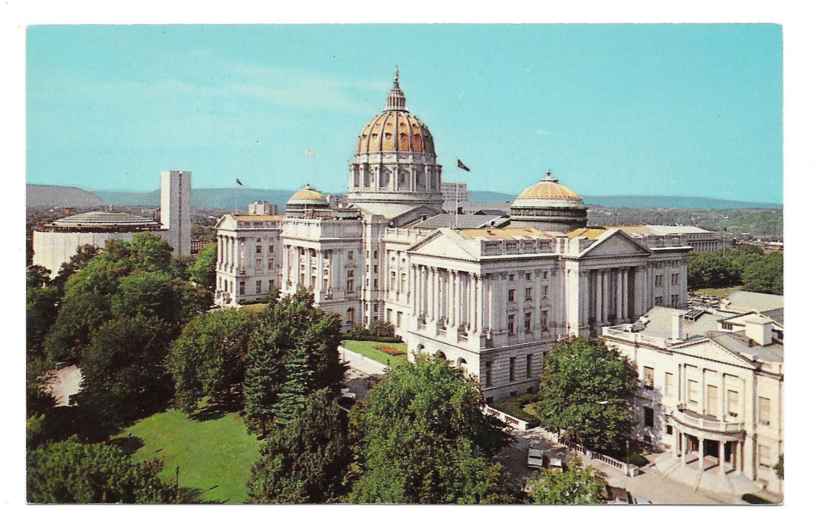 PA Harrisburg State Capitol Buildings Birds Eye View Vtg Postcard