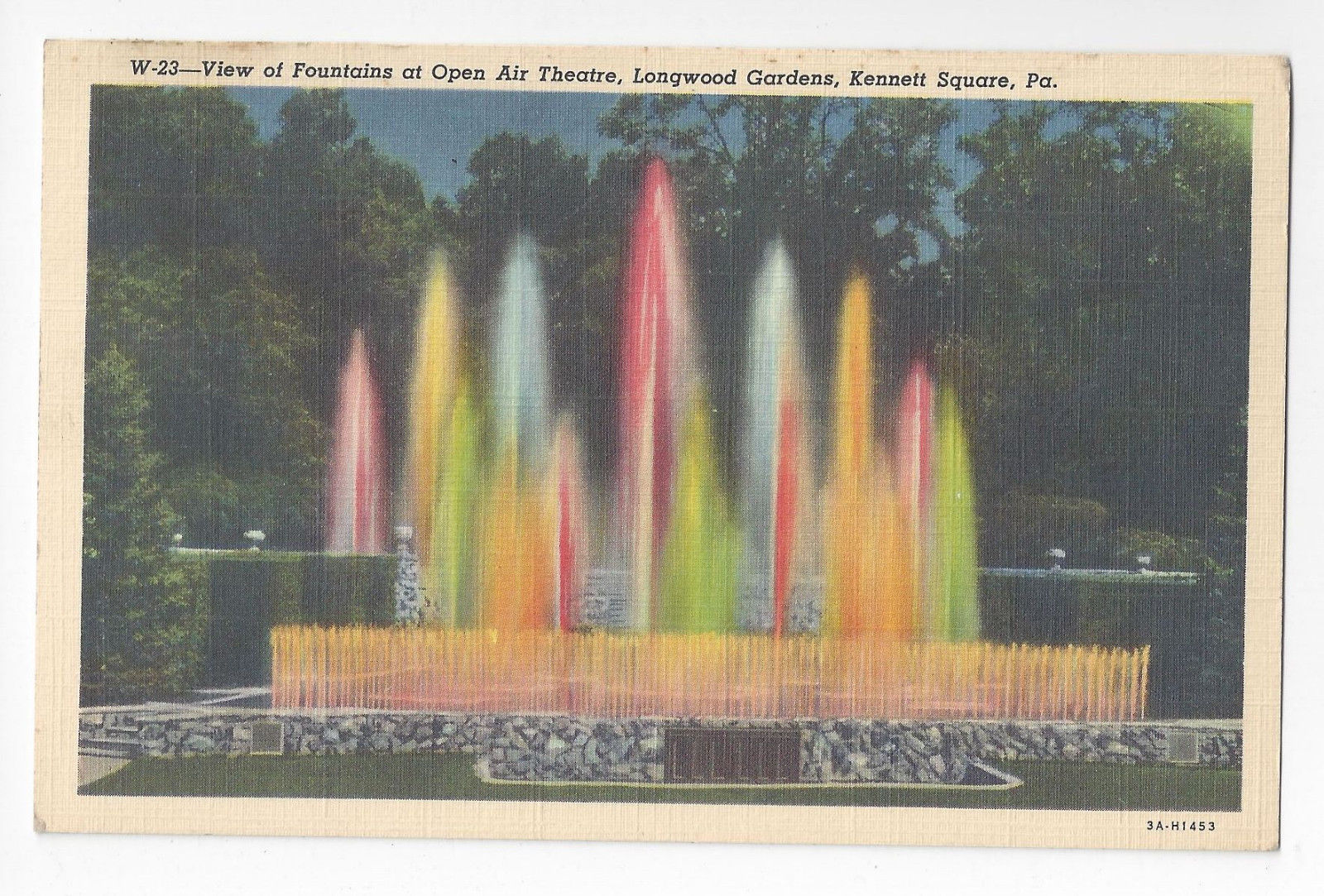 PA Kennett Square Longwood Gardens Fountains Open Air Theatre Vtg 1933 Postcard