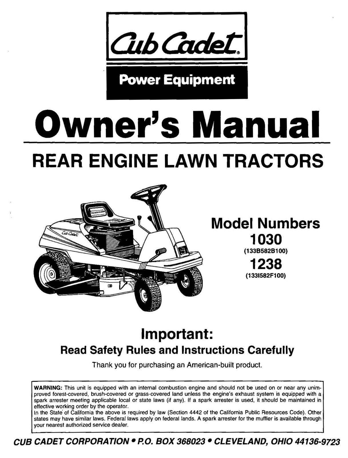Cub Cadet Lawn Tractor Owners Manual Model No. 1030 - 1238
