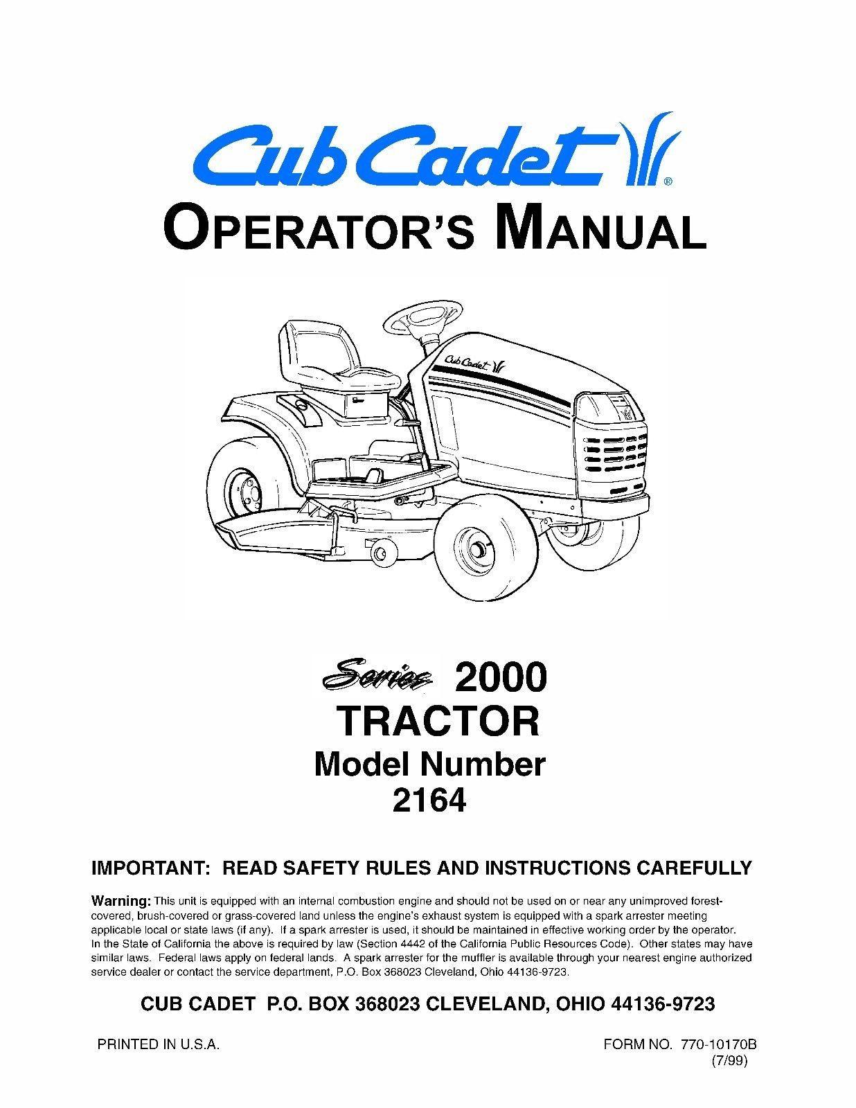 Cub Cadet Lawn Tractor Operator's Manual Model No. 2164