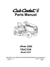 Cub Cadet 2500 Series Lawn Tractor Parts Manual Model No. 2518 - $10.88