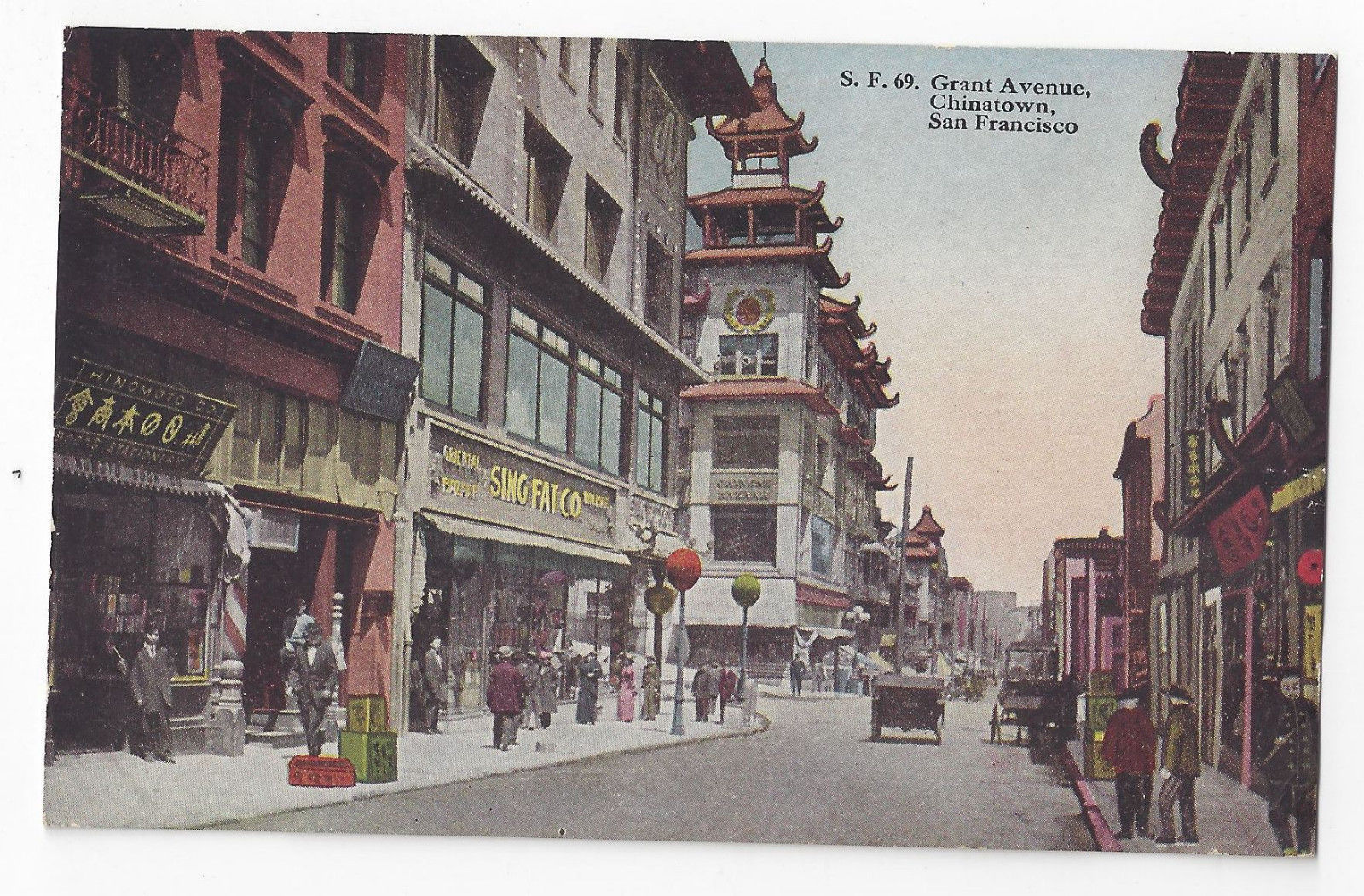 San Francisco CA Grant Ave Chinatown Vintage PNC California Postcard