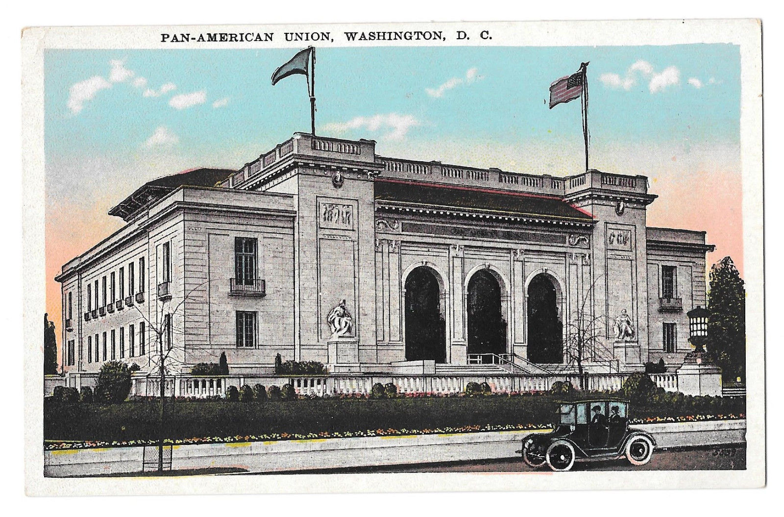 Washington DC Pan-American Union Building Car Vtg Reynolds Postcard