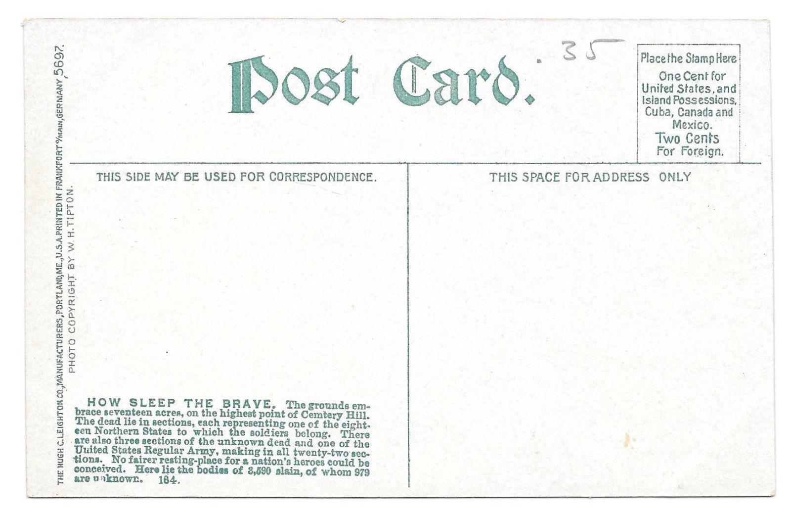 PA Gettysburg Civil War Soldiers National Cemetery Vtg Leighton Postcard