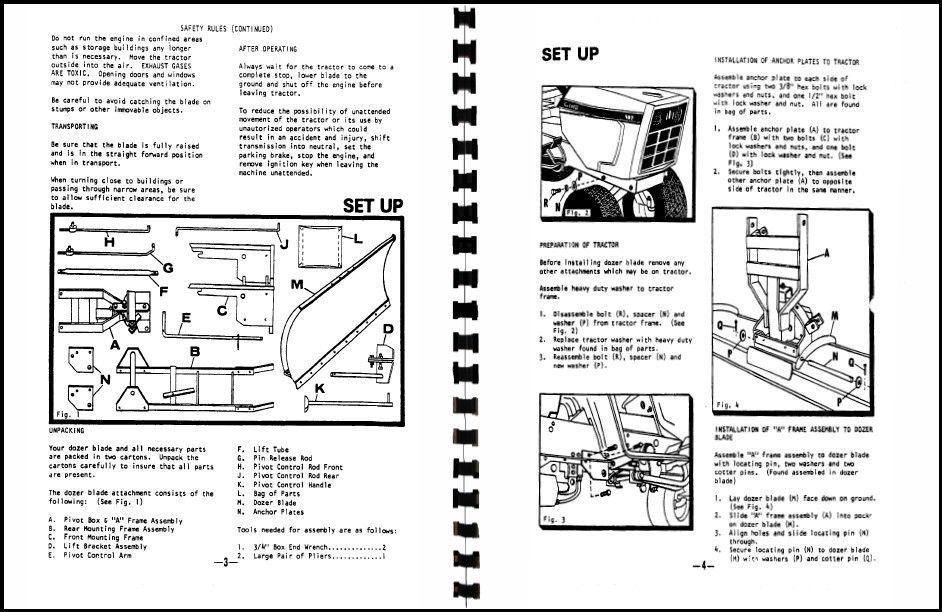 cub cadet 54 u0026quot  dozer blade owners manual model no  190