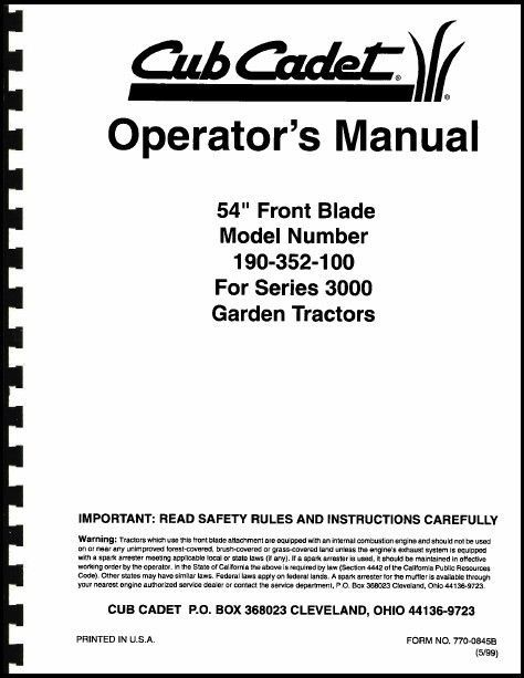 "Cub Cadet 54"" Front Blade Operators Manual Model No. 190-352-100"
