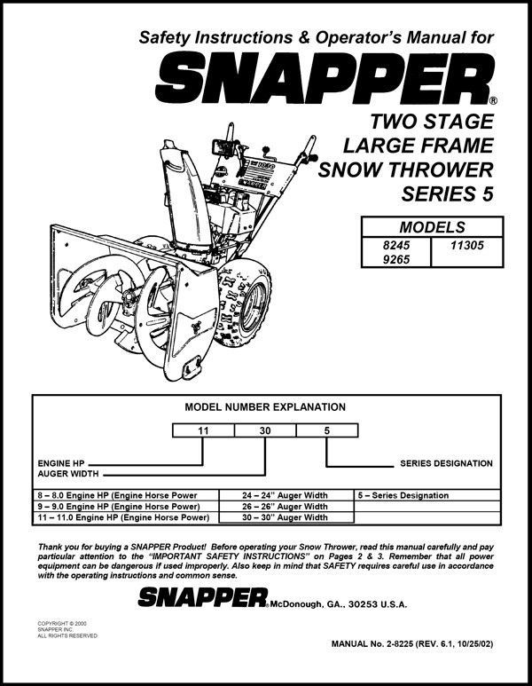 SNAPPER TWO STAGE SNOW THROWER SERIES 5 SAFTEY & OPERATORS MANUAL