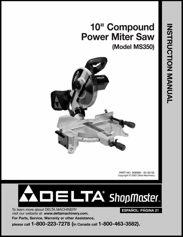 "Delta 10"" Power Miter Saw Instruction Manual Model No. MS350"