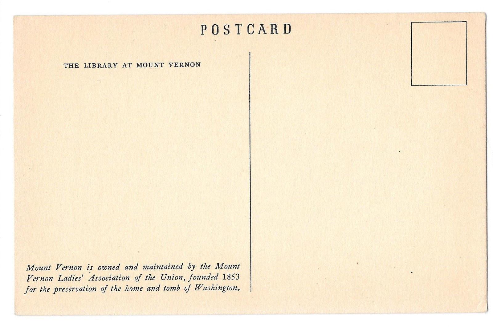 VA Mount Vernon Library Vtg MVLA Postcard Alexandria Virginia