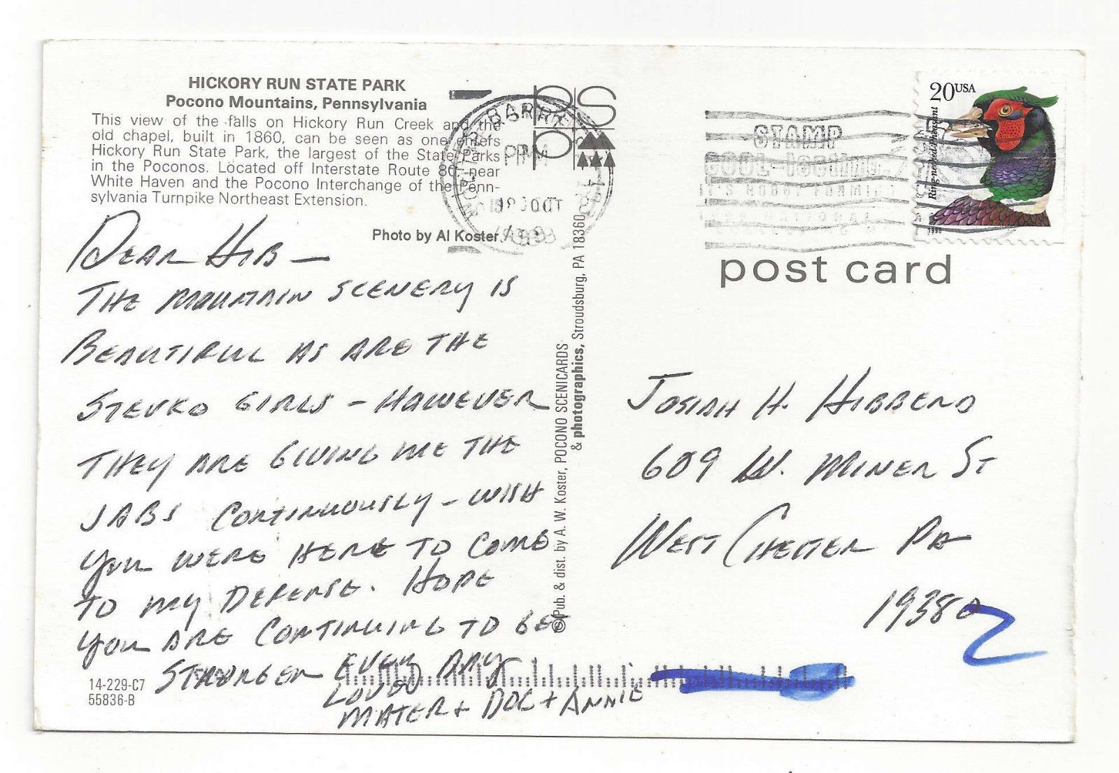 PA Pocono Mountains Hickory Run State Park Chapel Falls 1999 Postcard 4X6