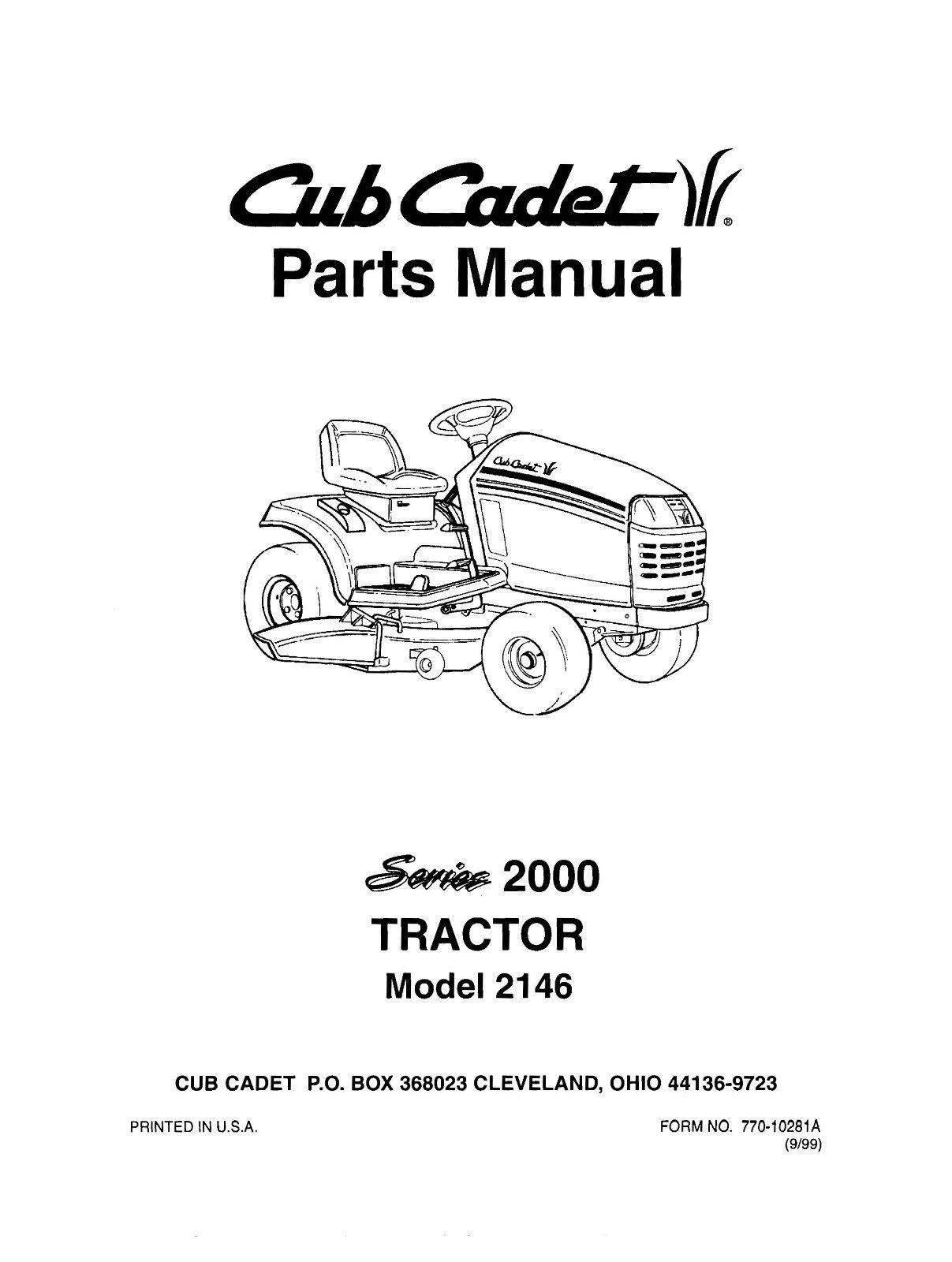 Cub Cadet 2000 Series Lawn Tractor Parts Manual Model No. 2146