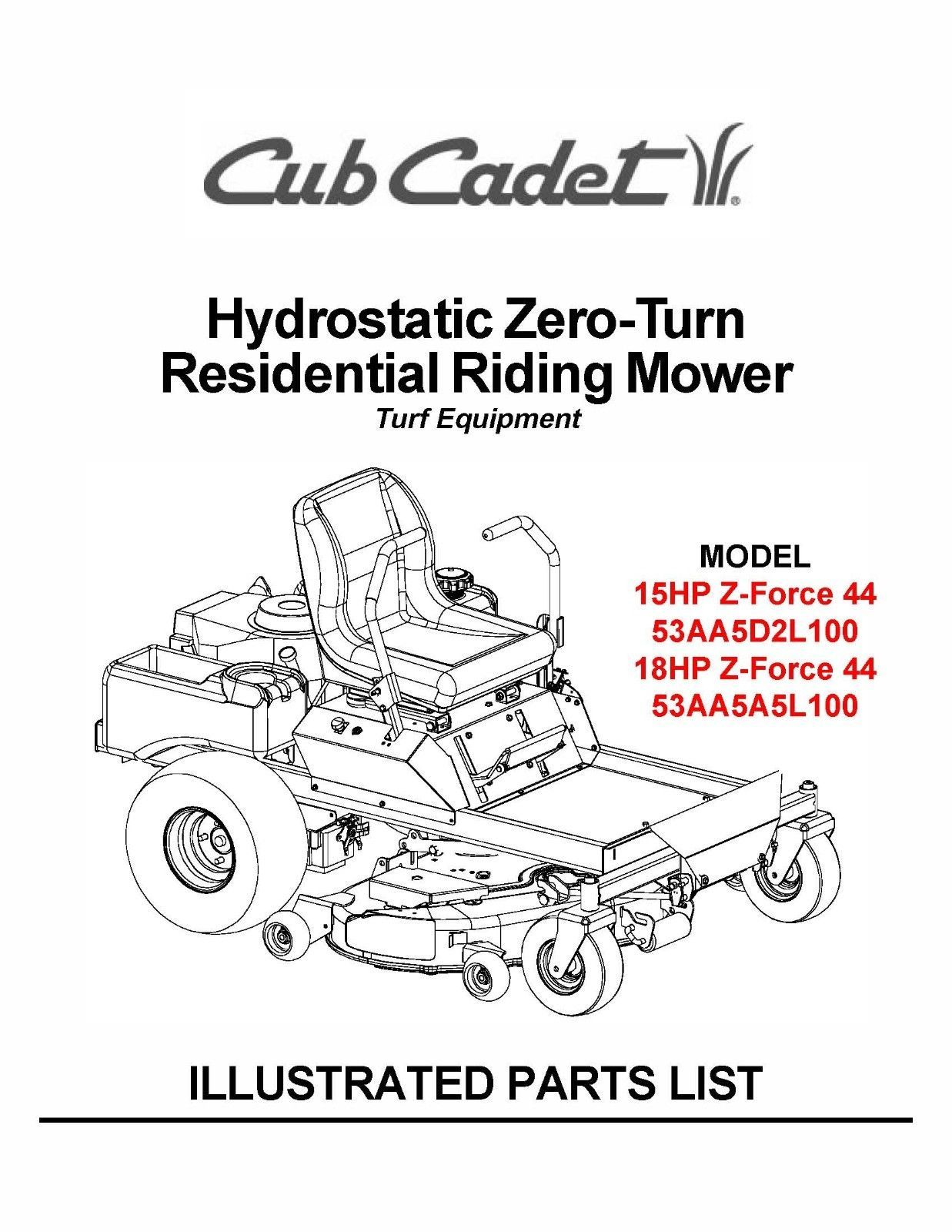 Cub Cadet Hydrostatic Zero-Turn Riding Mower Parts Manual Model #.ZFORCE 44