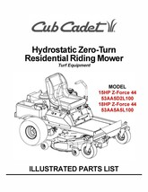 Cub Cadet Hydrostatic Zero-Turn Riding Mower Parts Manual Model #.ZFORCE 44 - $10.88