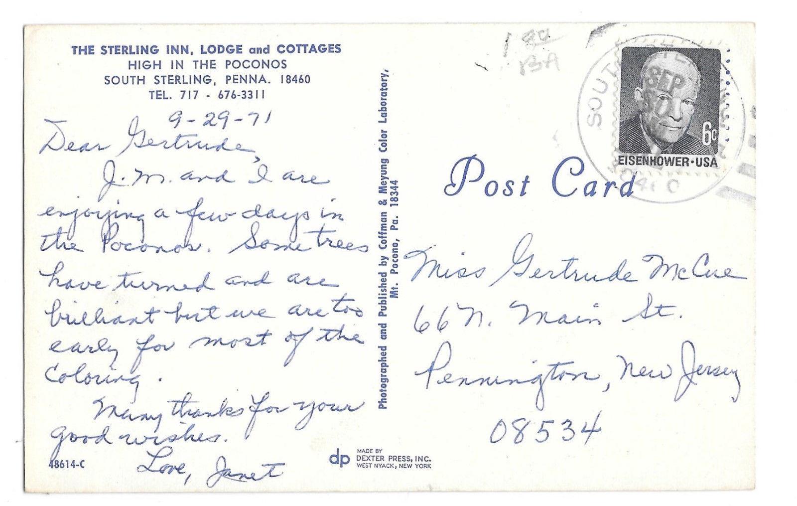 PA Sterling Inn Lodge Cottages South Sterling Poconos Vtg 1971 Postcard