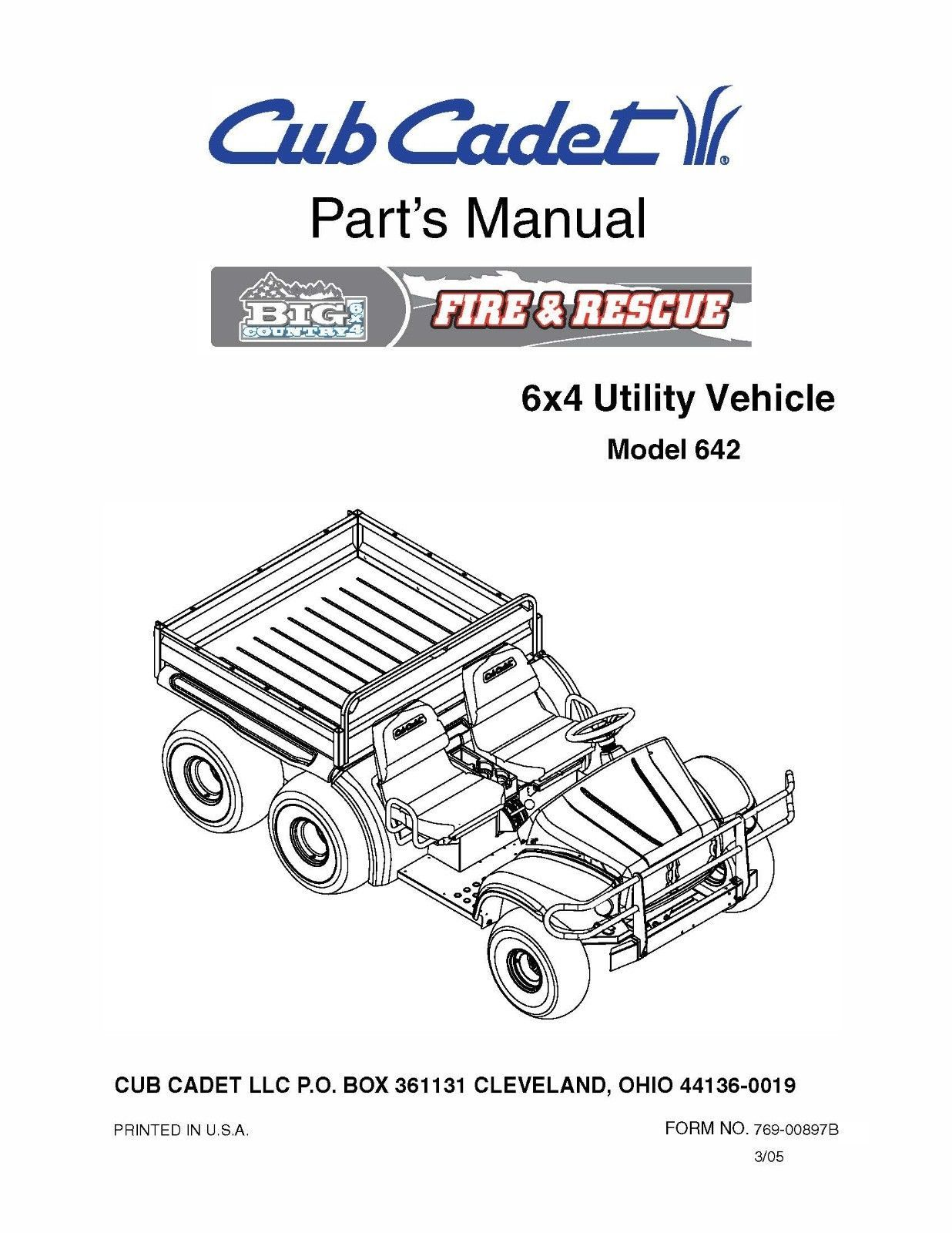 Cub Cadet Big Country 6x4 utility vehicle Parts Manual No. 642