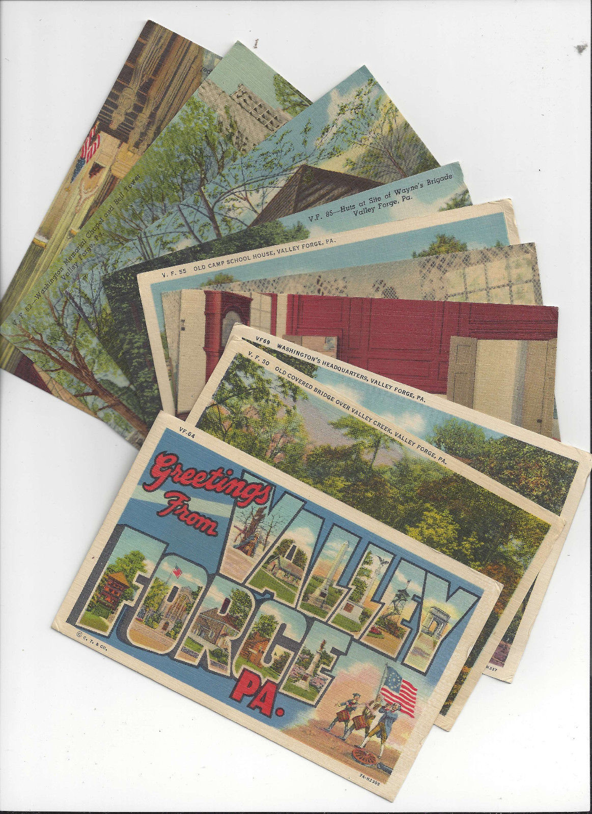 PA Valley Forge Pennsylvania 15 selected Views Linen Postcards Curteich
