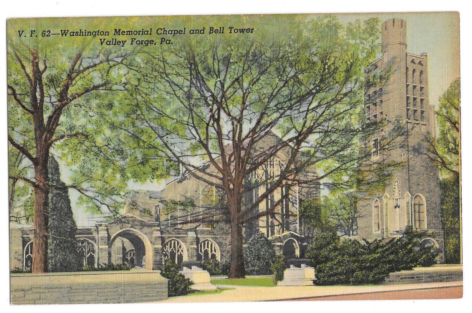 PA Valley Forge Washington Memorial Chapel and Bell Tower Vtg Linen Postcard