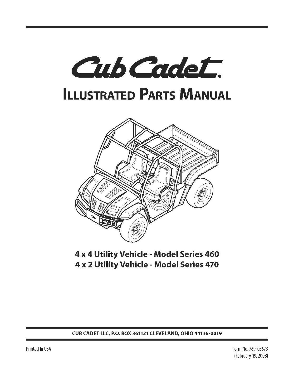 Cub Cadet 4x4 & 4 x 2 Utility Parts Manual Model No. 460-470