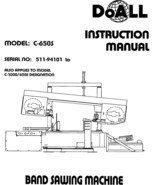 DoAll Band Saw Operators Manual Model No. C-650S and C/1000 - $21.78