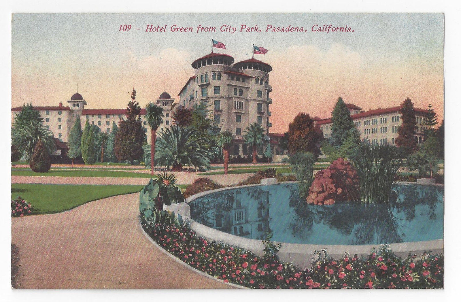 Pasadena CA Hotel Green from City Park Vintage Edw Mitchell California Postcard