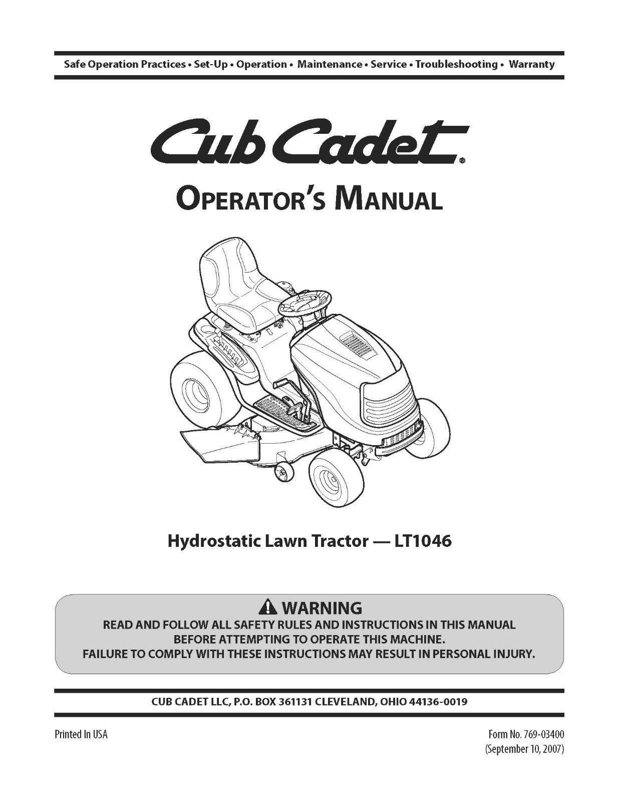 Cub Cadet Hydrostatic Lawn Tractor Operator's Manual Model No. LT1046