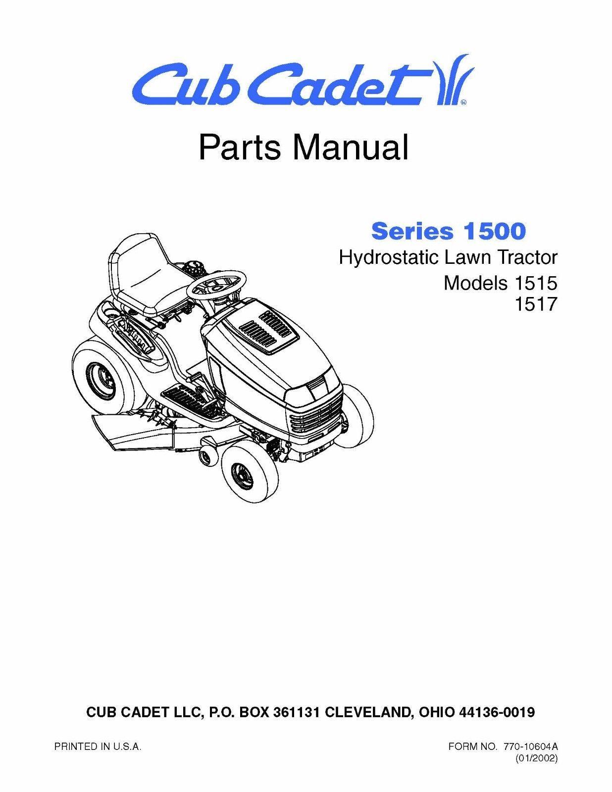 Cub Cadet 1500 Series Hydrostatic Lawn Tractor Parts Manual Model No. 1515-1517