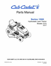Cub Cadet 1500 Series Hydrostatic Lawn Tractor Parts Manual Model No. 15... - $10.88