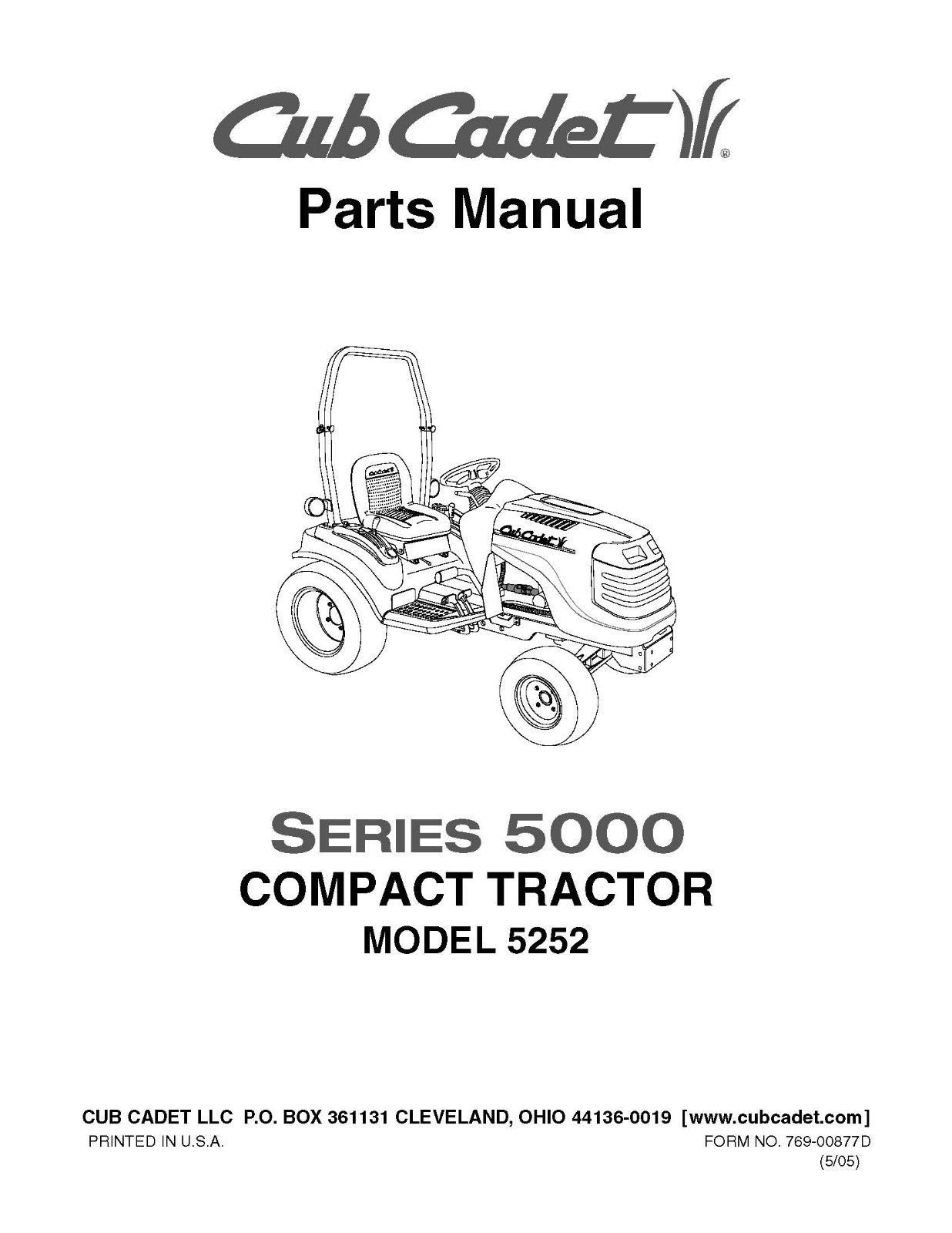 Cub Cadet 5000 Series Compact Lawn Tractor Parts Manual Model No. 5252