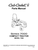 Cub Cadet 7000 Series Compact Lawn Tractor Parts Manual Model No. 7284 - $10.88