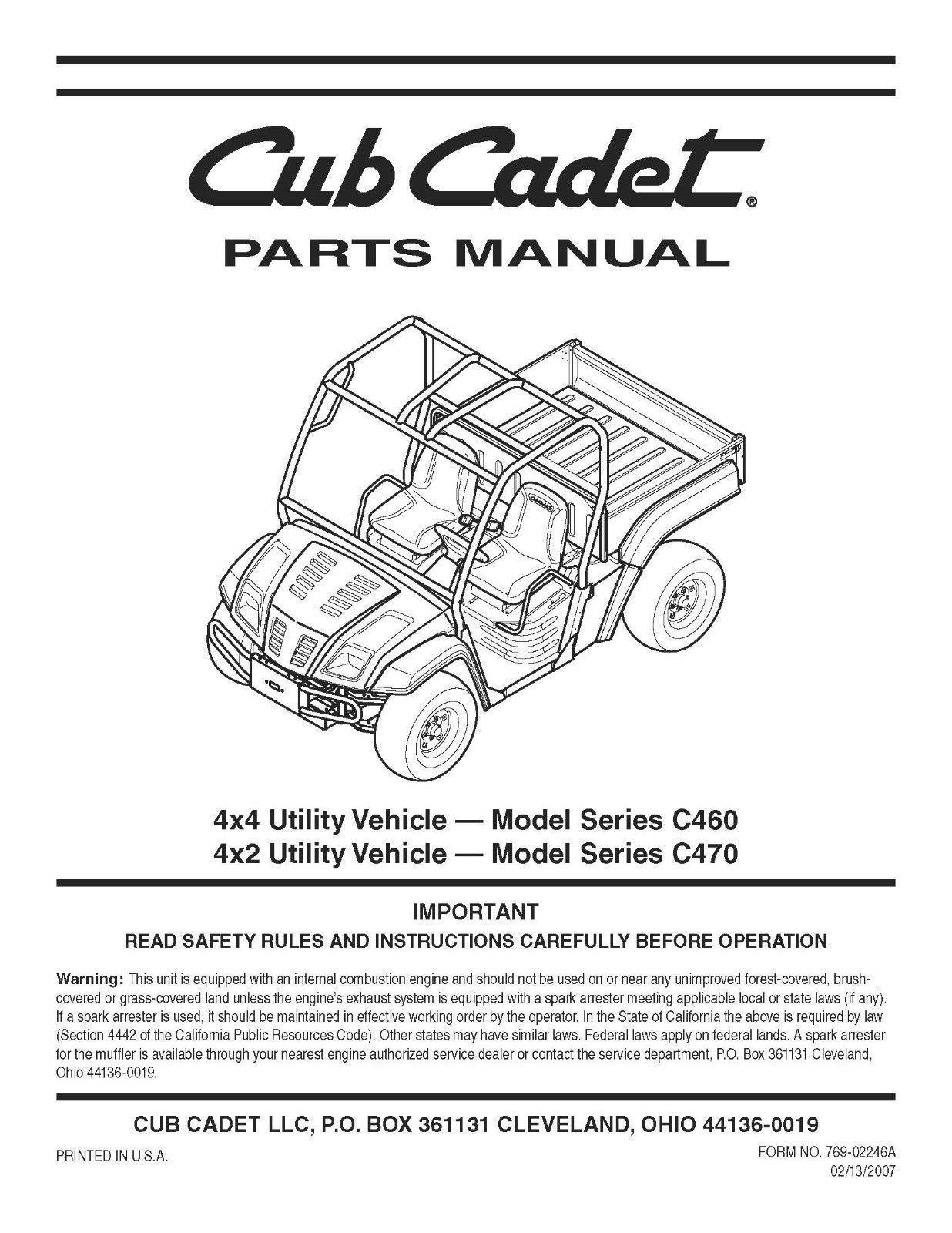 Cub Cadet 4x4 & 4 x 2 Utility Parts Manual Model No. C460-C470