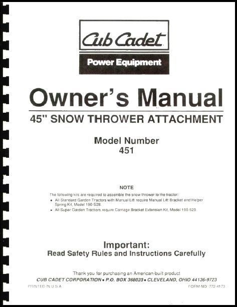 "Cub Cadet 45"" Snow Thrower Attachment Owners Manual Model No. 190-451-100"