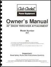 "Cub Cadet 45"" Snow Thrower Attachment Owners Manual Model No. 190-451-100 - $10.88"