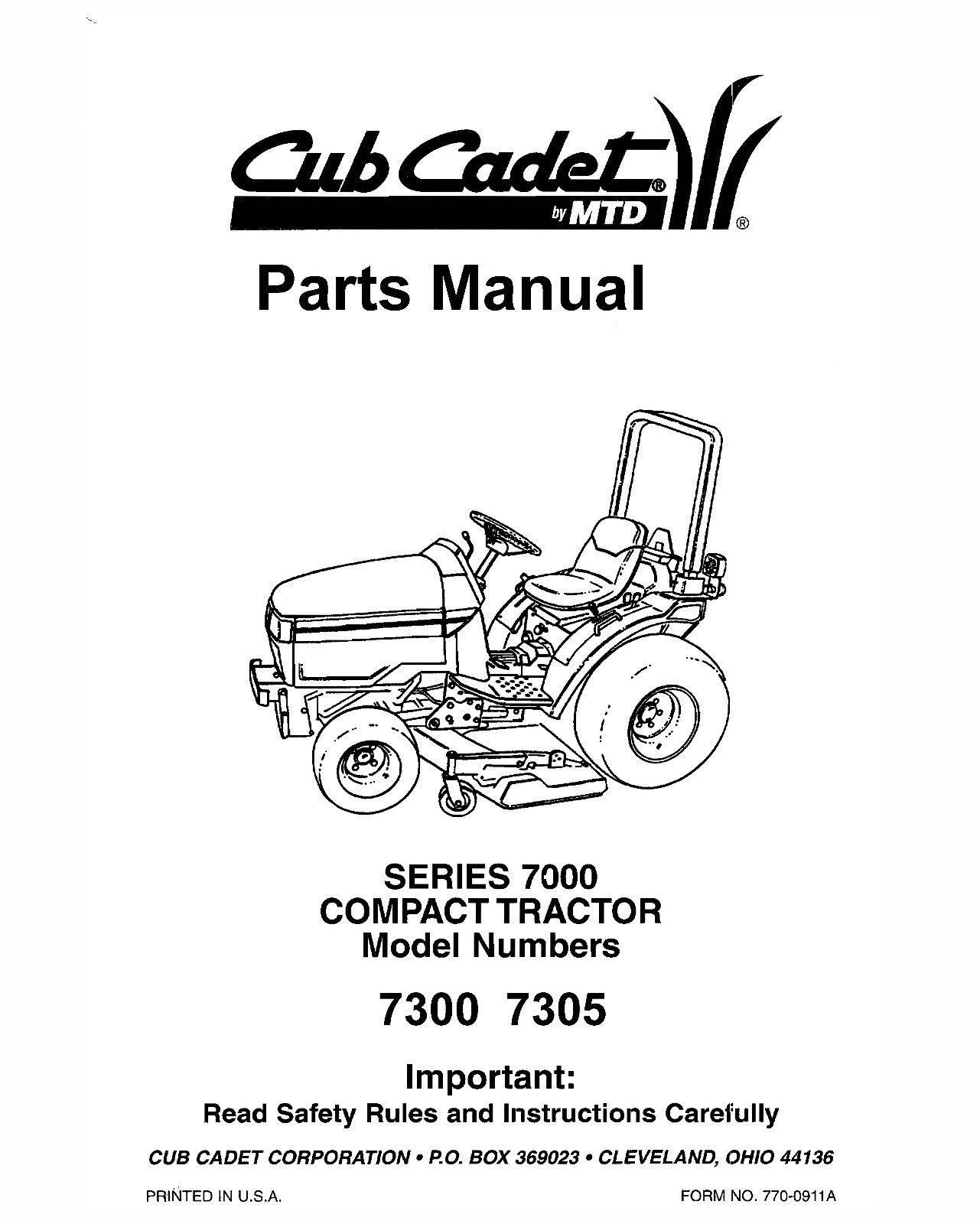 Cub Cadet 7000 Series Compact Lawn Tractor Parts Manual Model No. 7300-7305