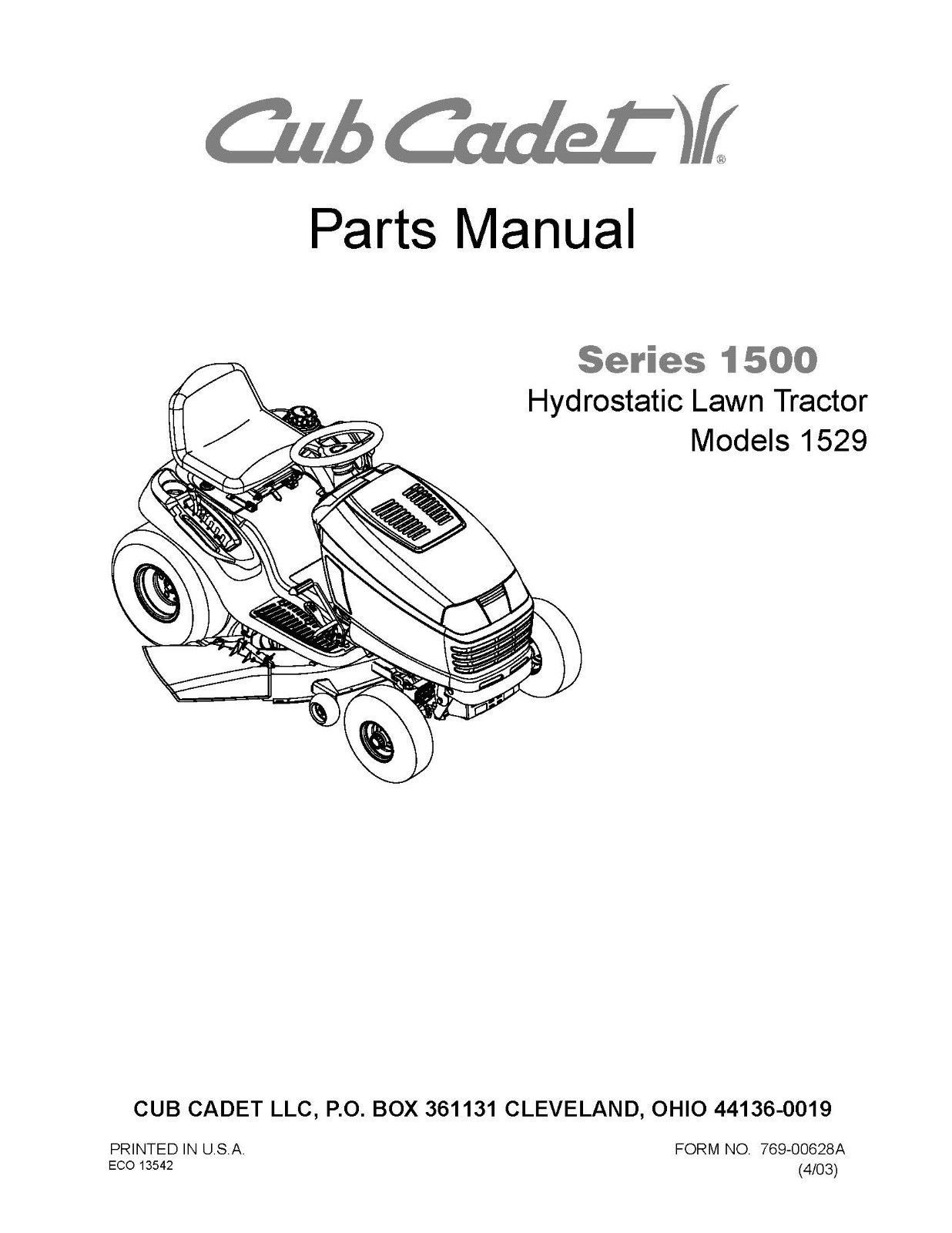 Cub Cadet 1500 Series Hydrostatic Lawn Tractor Parts Manual Model No. 1529