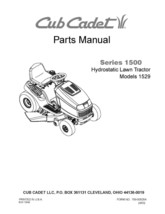 Cub Cadet 1500 Series Hydrostatic Lawn Tractor Parts Manual Model No. 1529 - $10.88