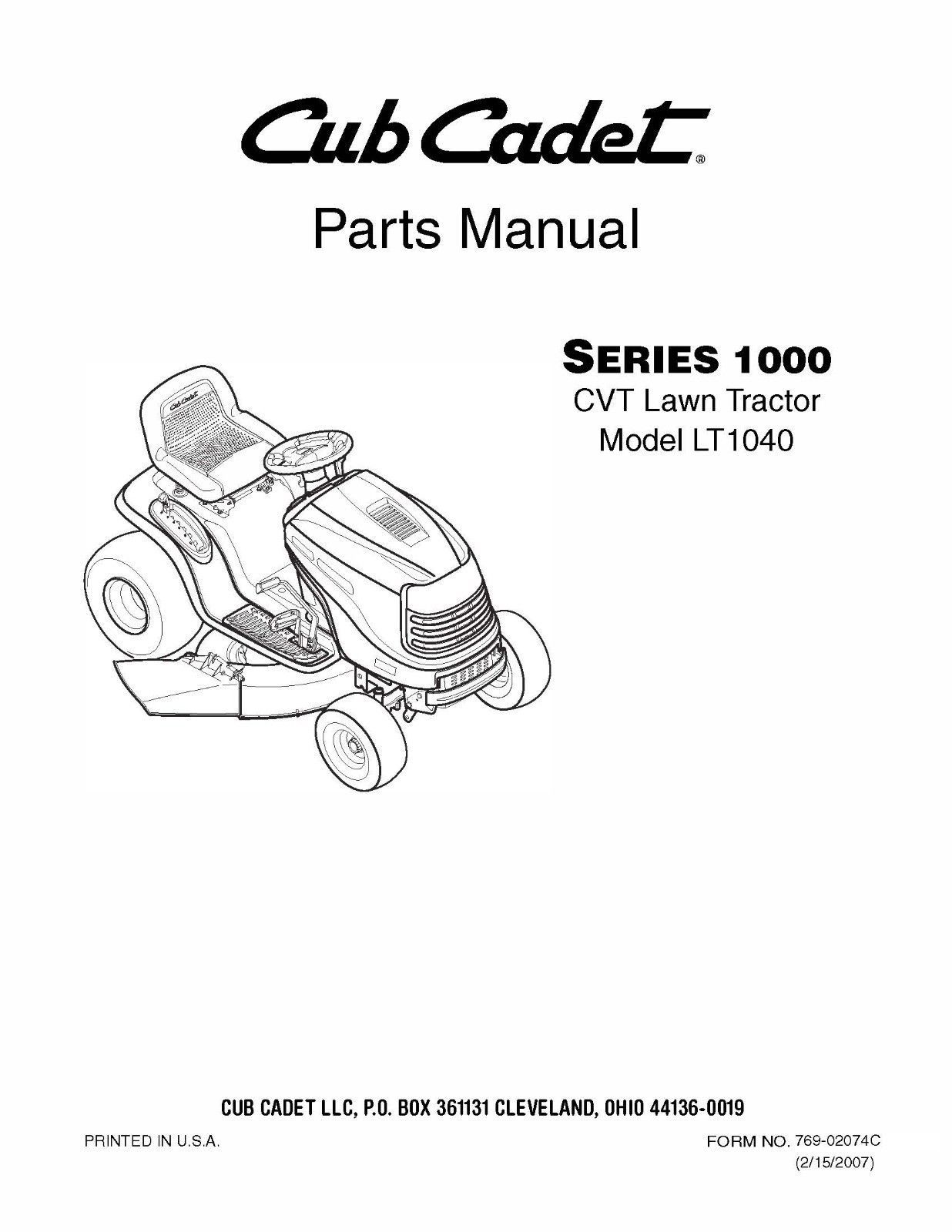 Cub Cadet 1000 Series CVT Lawn Tractor Parts Manual Model No. LT 1040