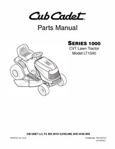 Cub Cadet 1000 Series CVT Lawn Tractor Parts Manual Model No. LT 1040 - $10.88