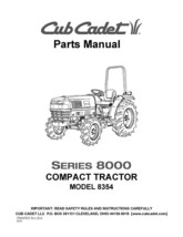 Cub Cadet 8000 Series Compact Lawn Tractor Parts Manual Model No. 8354 - $10.88