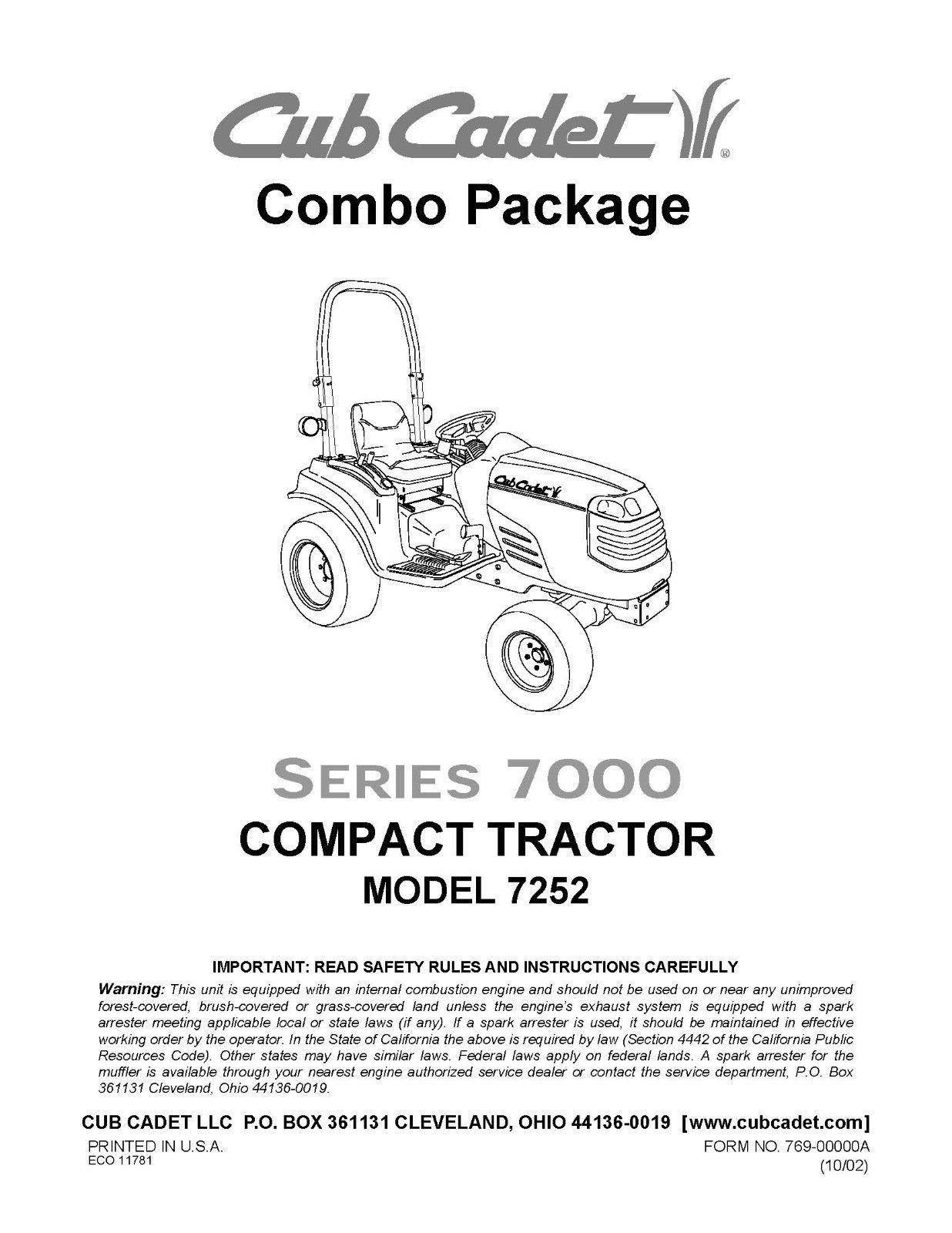 Cub Cadet  Model No. 7252 Manuals COMBO Package
