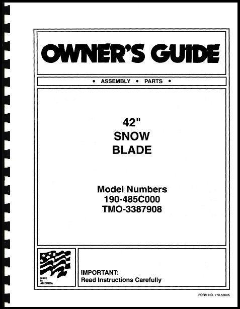 """Cub Cadet 42"""" Snow Blade Owners Manual Model No.190-485C000 / TMO-3387908"""