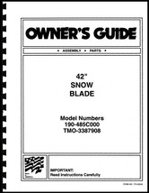"Cub Cadet 42"" Snow Blade Owners Manual Model No.190-485C000 / TMO-3387908 - $10.88"