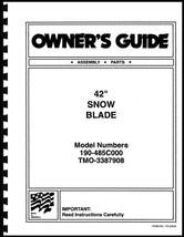 """Cub Cadet 42"""" Snow Blade Owners Manual Model No.190-485C000 / TMO-3387908 - $10.88"""