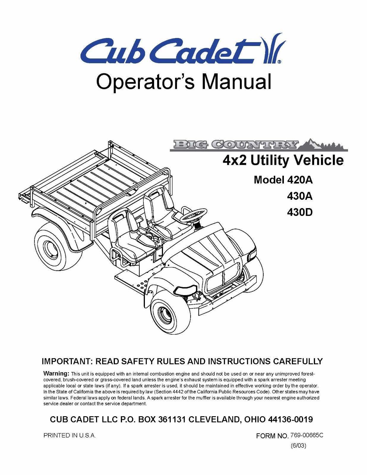 Cub Cadet Big Country 4x2 utility vehicle Operator's Manual No. 420A 430A 430D