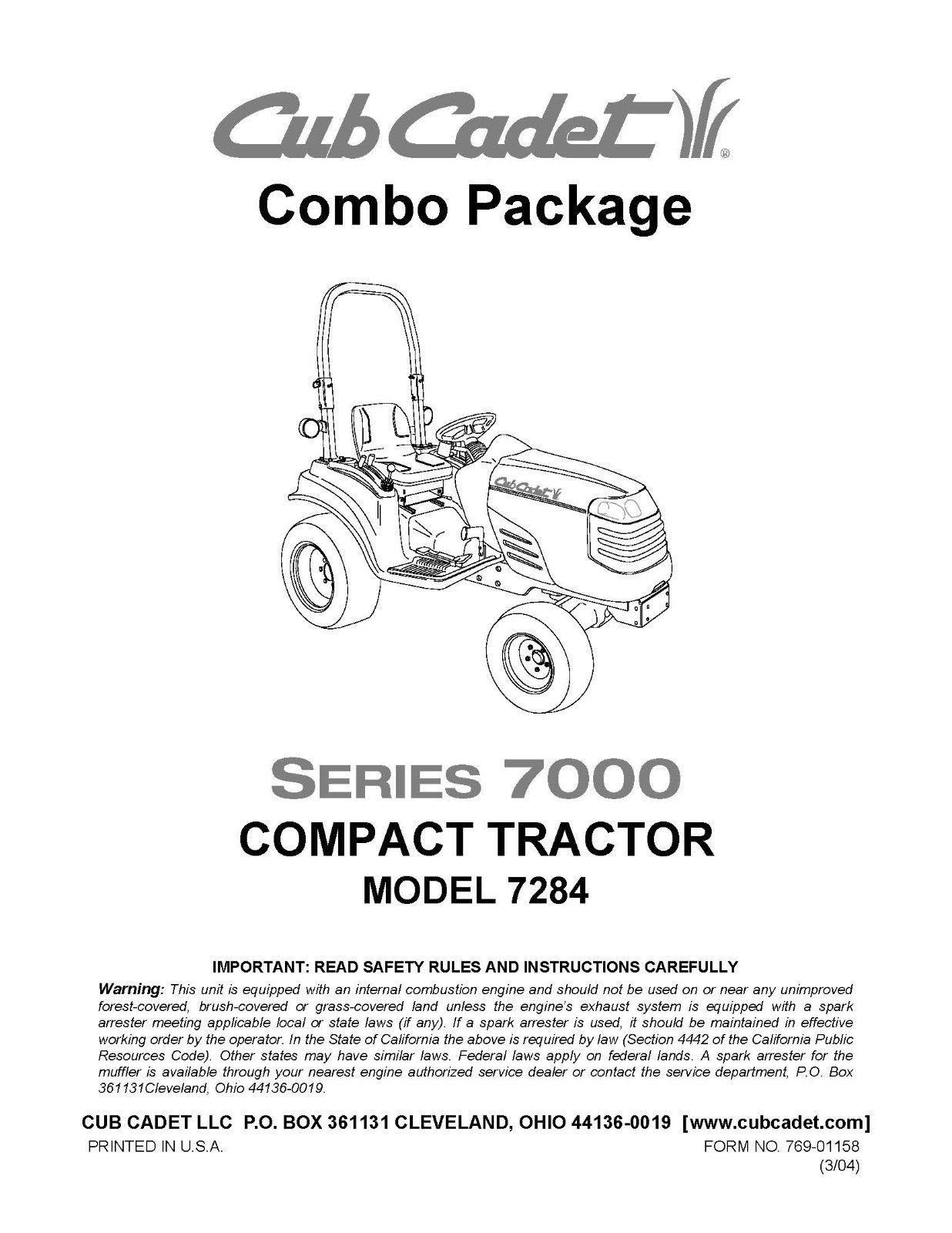 Cub Cadet Model No. 7284 Manuals COMBO Package