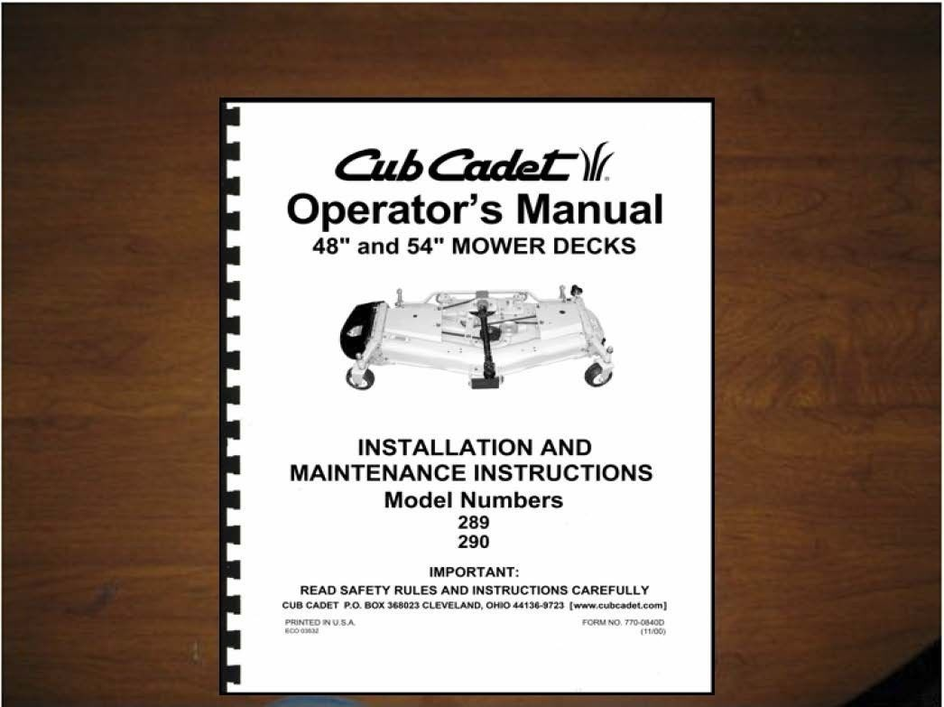 "Primary image for Cub Cadet 48"" & 54"" Mower Deck Operator's Manual Model 190-289-100 /190-290-100"