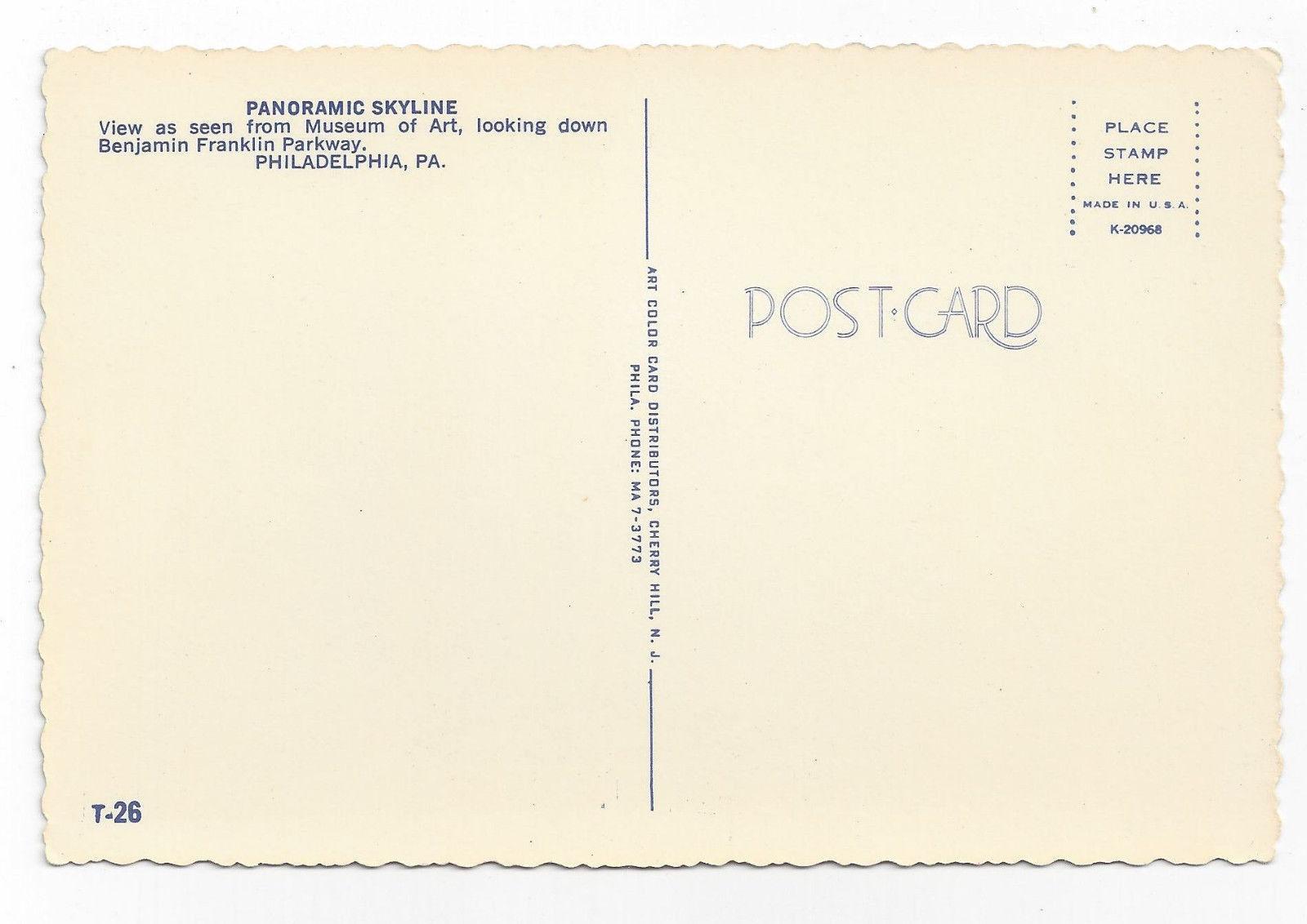 Philadelphia PA Panoramic Skyline Parkway Eakins Oval City Hall 4X6 Postcard
